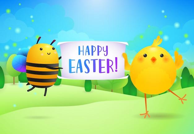 かわいい蜂とひよこによって開催されたバナーにハッピーイースターのレタリング 無料ベクター