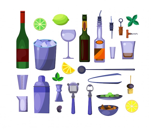 Набор алкогольных напитков Бесплатные векторы