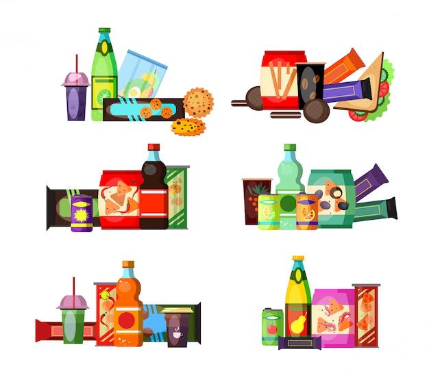 Нездоровый набор продуктов питания и напитков Бесплатные векторы