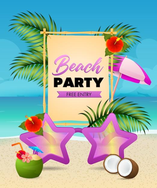 Надпись на пляжной вечеринке, солнцезащитные очки в форме звезды, кокосовый коктейль Бесплатные векторы