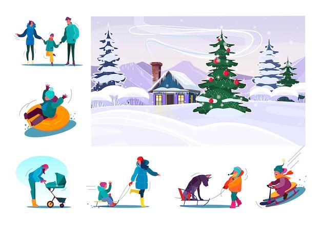 Набор семьи весело во время зимних каникул Бесплатные векторы