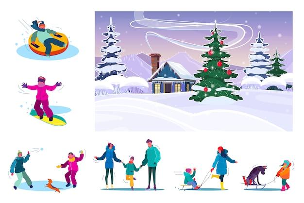雪の降る冬の間に休んで家族のセット 無料ベクター