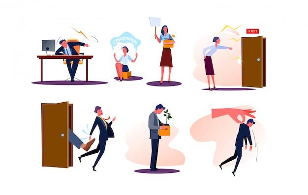 Набор уволенных деловых мужчин и женщин сотрудников с коробками Бесплатные векторы
