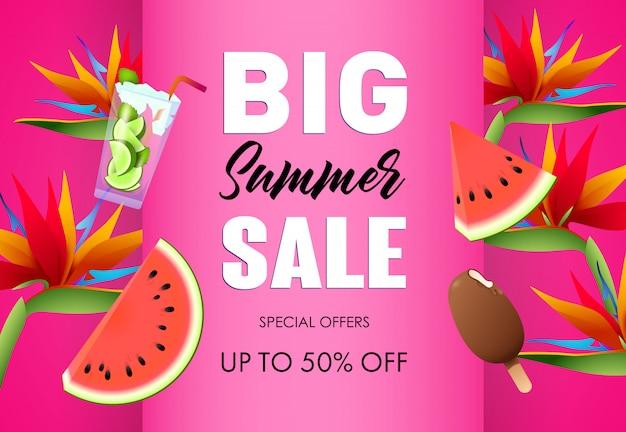 大きな夏セールポスターデザイン。アイスクリーム 無料ベクター