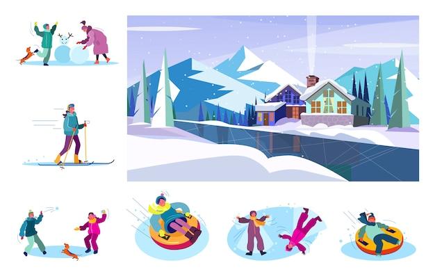 Набор людей, наслаждающихся зимой Бесплатные векторы