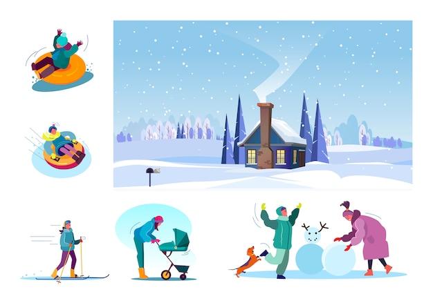 Набор различных людей, весело проводящих время зимой Бесплатные векторы