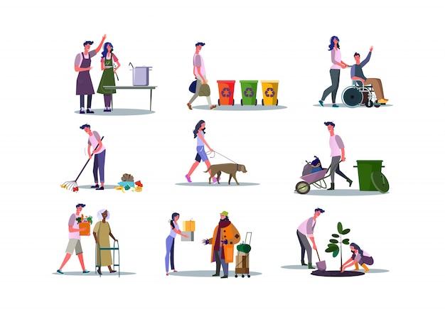 人々を助け、環境を気遣うボランティアのセット 無料ベクター