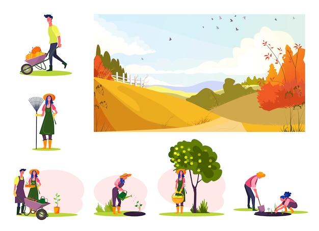 果樹園で働く若いカップルのセット 無料ベクター