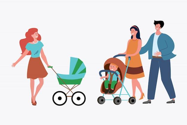 シングルマザーと子供を持つ夫婦 無料ベクター