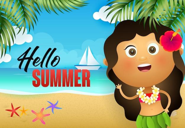 こんにちは夏のチラシデザイン。ハワイアンガール 無料ベクター