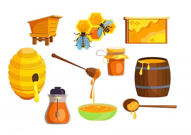 Набор для производства меда Бесплатные векторы