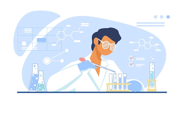 Химик работает в лаборатории Бесплатные векторы