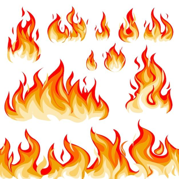 炎のイラストセット 無料ベクター