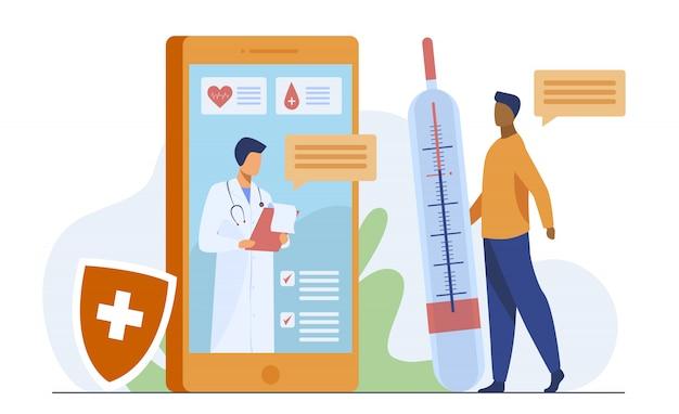 スマートフォンを介したオンライン医師相談 無料ベクター