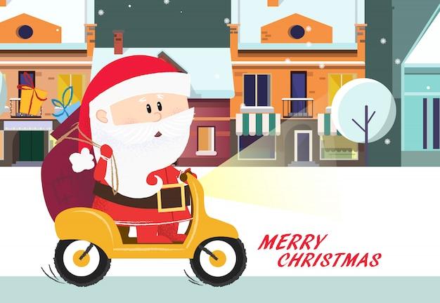 メリークリスマスのポスター。漫画のサンタクロース乗馬自転車 Premiumベクター