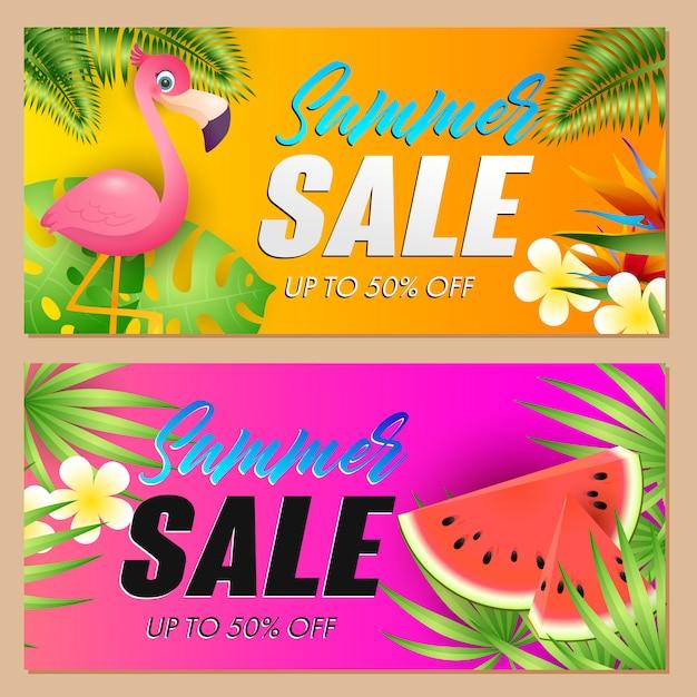 Летняя распродажа надписи с фламинго и арбузом Бесплатные векторы