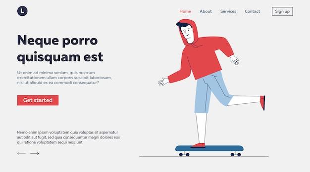 Подросток катается на скейтборде Бесплатные векторы