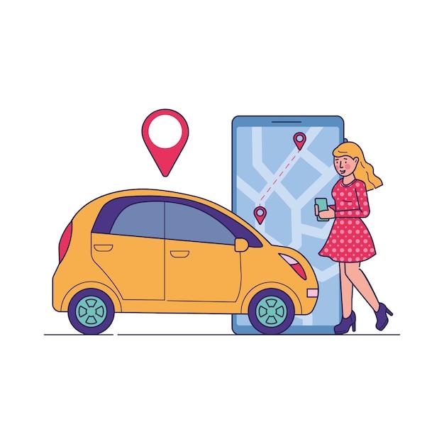 カーシェアリングサービスを利用する女性ドライバー 無料ベクター