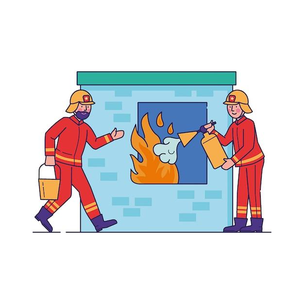 Пожарные тушат пламя через окно Бесплатные векторы