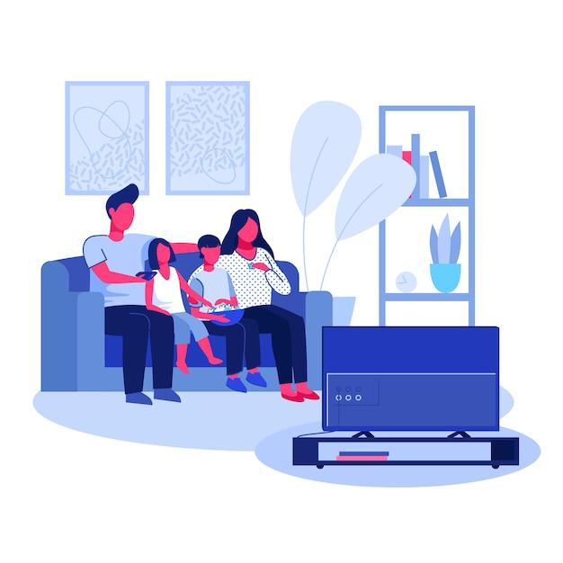 Родительская пара, мальчик и девочка смотрят телевизор Бесплатные векторы