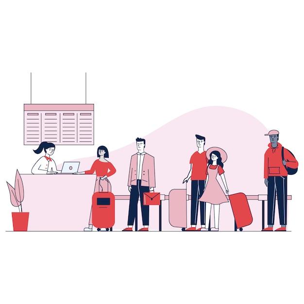 チェックインのキューで待っている空港の旅行者 無料ベクター