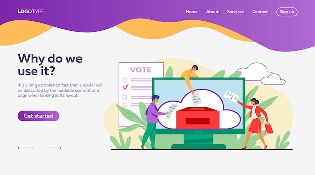 オンラインまたは電子投票のランディングページテンプレート 無料ベクター