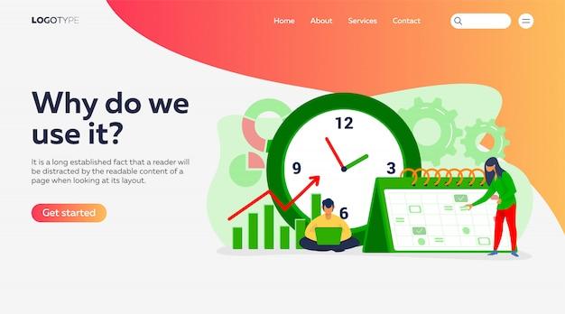 Сроки и шаблон целевой страницы планирования проекта Бесплатные векторы