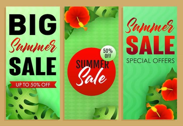 夏のセールレタリングセット、熱帯植物と花 無料ベクター