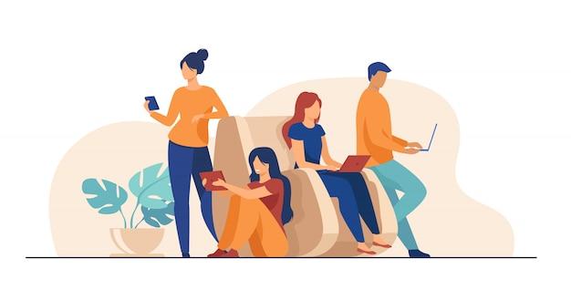 一緒に時間を過ごすデジタルデバイスユーザー 無料ベクター