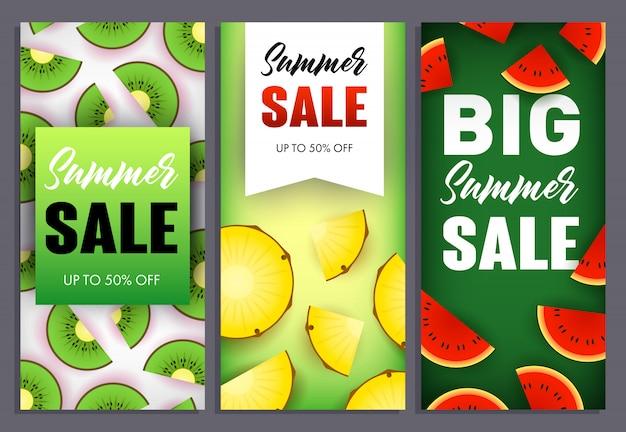 Летняя распродажа надписей, арбуз, киви и ананас Бесплатные векторы