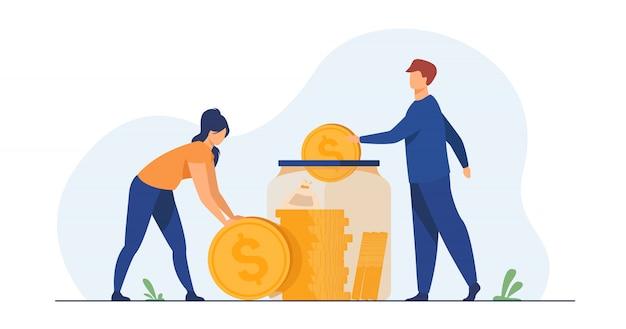 Семейная пара экономит деньги Бесплатные векторы