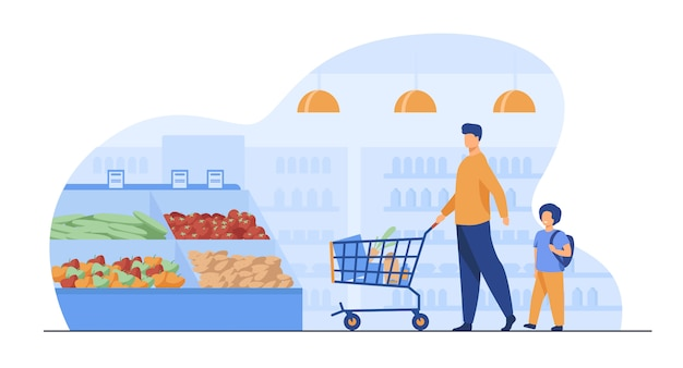 Отец и сын покупают еду в супермаркете Бесплатные векторы