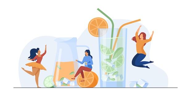 Счастливые девушки пьют свежий лимонад Бесплатные векторы