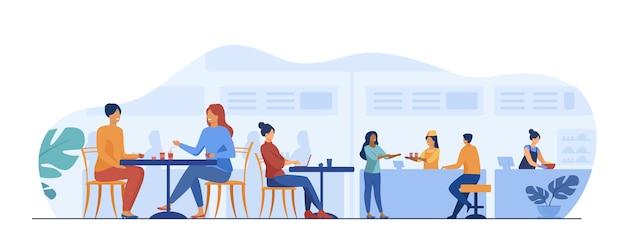 Люди едят в кафе фуд-корт Бесплатные векторы