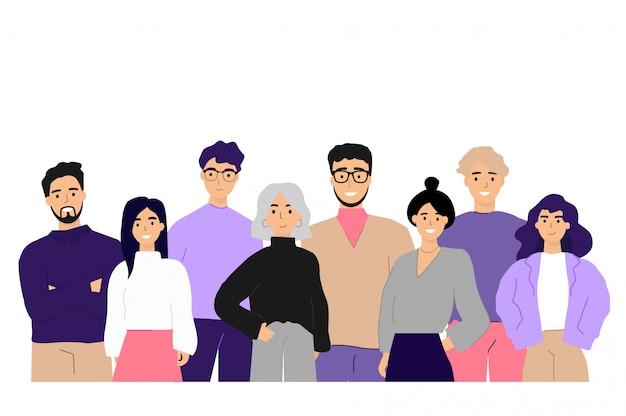 Корпоративный портрет офисных работников и служащих Бесплатные векторы