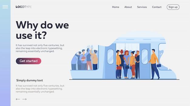 地下鉄で旅行する通勤者の群衆 無料ベクター