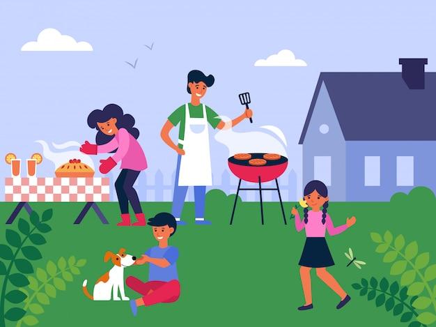 Семья готовит барбекю на заднем дворе Бесплатные векторы