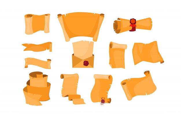 Набор старых бумажных свитков Бесплатные векторы