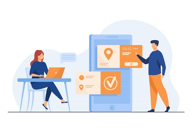 Люди, использующие онлайн назначение и бронирование приложения Бесплатные векторы