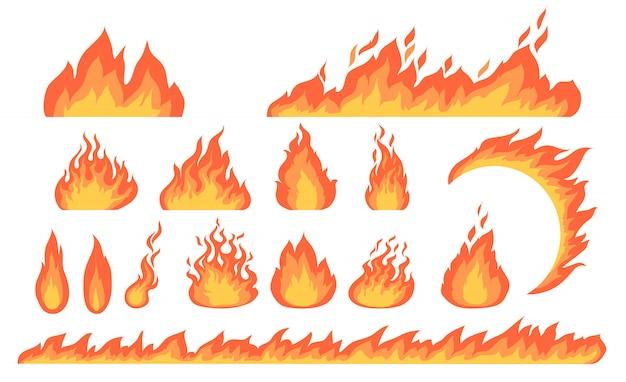 Мультфильм огонь пламя плоской коллекции Бесплатные векторы