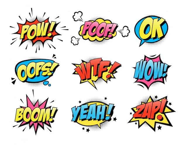 Коллекция комиксов всплеск текст плоский значок Бесплатные векторы