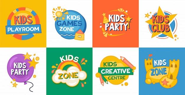 Детская игровая зона с плоским значок коллекции Бесплатные векторы