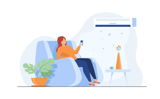 Женщина расслабляющий в кресле у себя дома Бесплатные векторы