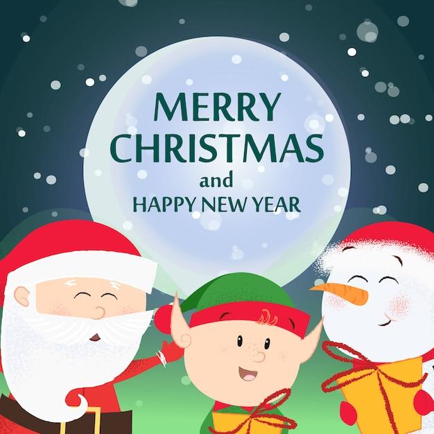 クリスマスと新年のチラシ。ハッピーサンタクロース Premiumベクター