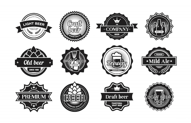 ビールのロゴセット 無料ベクター