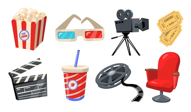 映画、劇場、映画のさまざまな要素 無料ベクター