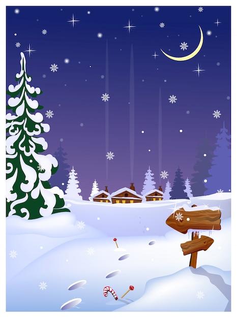 遠くの家、木製の矢印記号で夜の田園風景 Premiumベクター