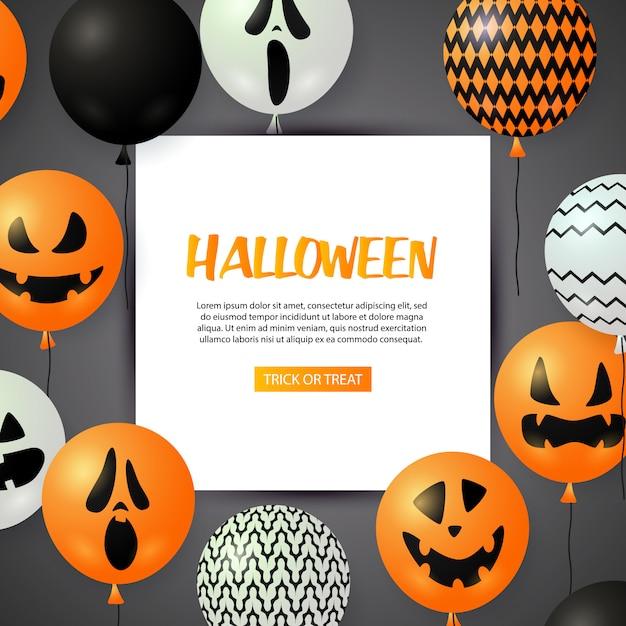 Поздравительная открытка на хэллоуин с праздничными воздушными шарами Бесплатные векторы