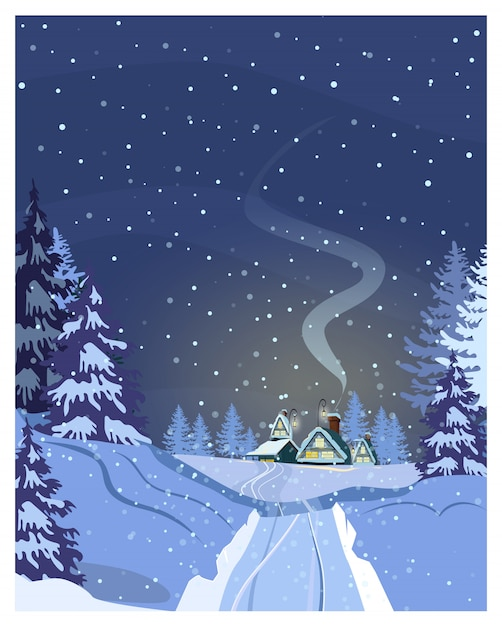 住宅、雪に覆われた道、モミの木と夜の田園風景 Premiumベクター