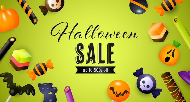 Хэллоуин продажа надписи с конфетами, пирожными и сладостями Бесплатные векторы